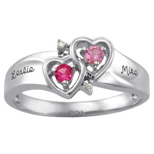 Women's Double Heart Promise Ring: Amour