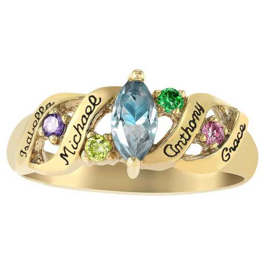 Ladies' Five-Stone Birthstone Ring with Custom Text: Ava