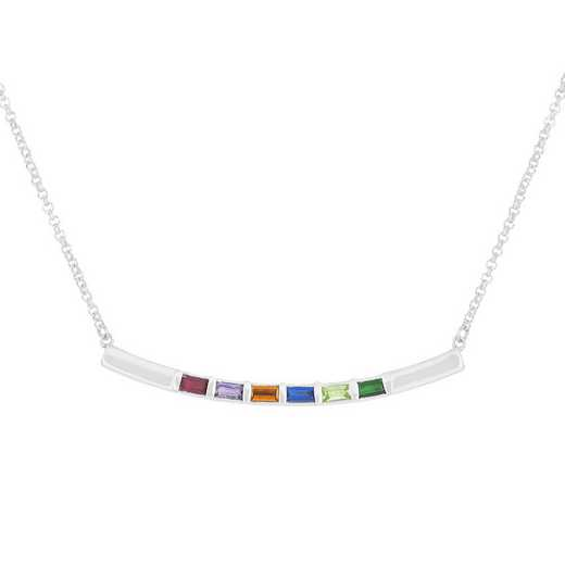 Mother's Baguette Necklace with 1-6 Stones Quick Ship