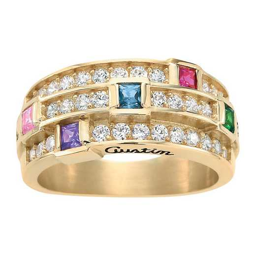 Mother's Three-Row Multi-Stone Ring: Bella