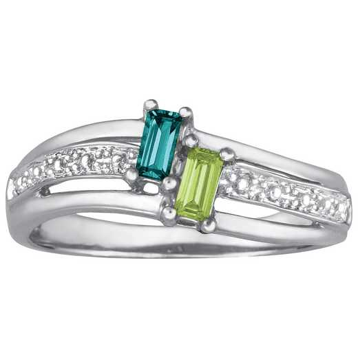 Ladies' Emerald-Cut Birthstone Promise Ring: Beloved Quick Ship