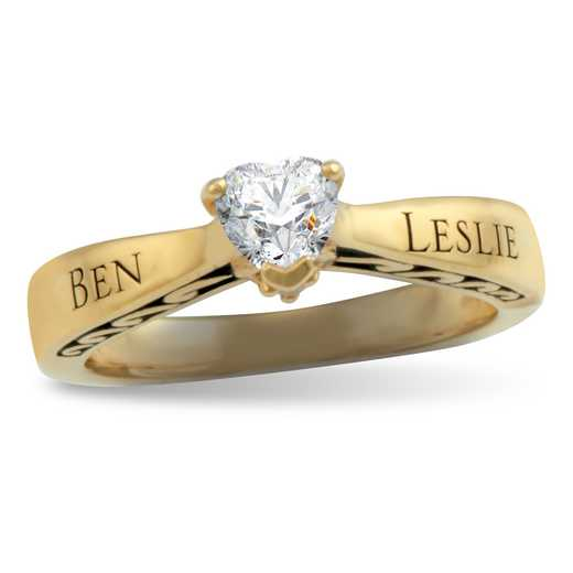 Ladies' Heart-Shaped Birthstone Promise Ring: Bonded