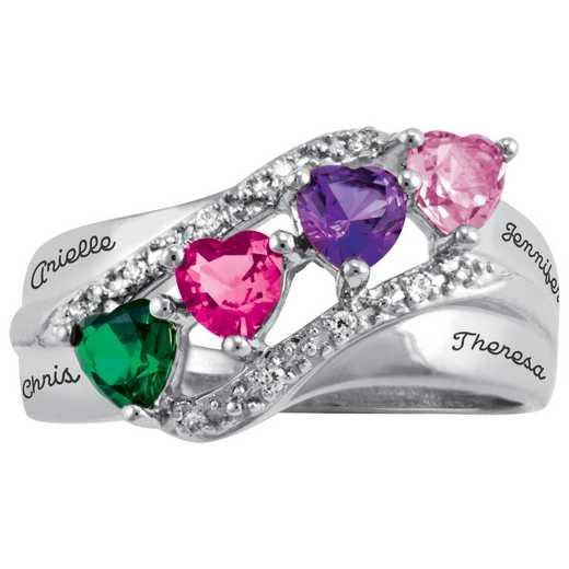 Ladies' Four-Heart Birthstone Ring: Brilliance