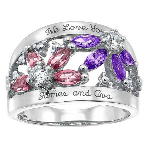Ladies' 8-Stone Floral Mother's Ring: Camilla