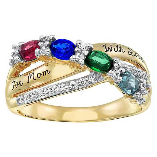 Mother's Oval-Shaped Gemstone Ring with 3-5 Stones: Cascade