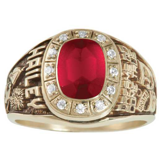 Women's Large Traditional Class Ring with Birthstone and Diamond or CZ: Celebrity Prestige