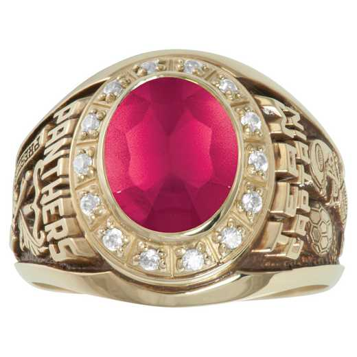 Men's Medium Class Ring with Cusion-Cut Stone and CZ or Dimonds- Champion Prestige