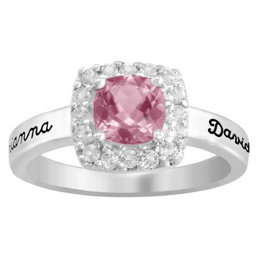 Ladies' Cushion Cut Birthstone Ring with Accent Stones: Clara