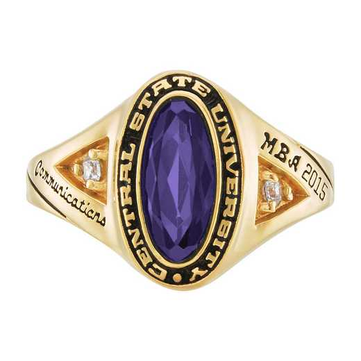 New York University Stern School of Business Women's Signature Ring with Cubic Zirconias