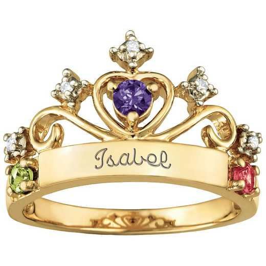 Women's Three-Stone Crown Ring: Contessa