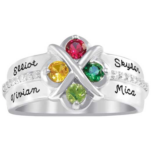 Personalized Four-Stone Crest Family Ring