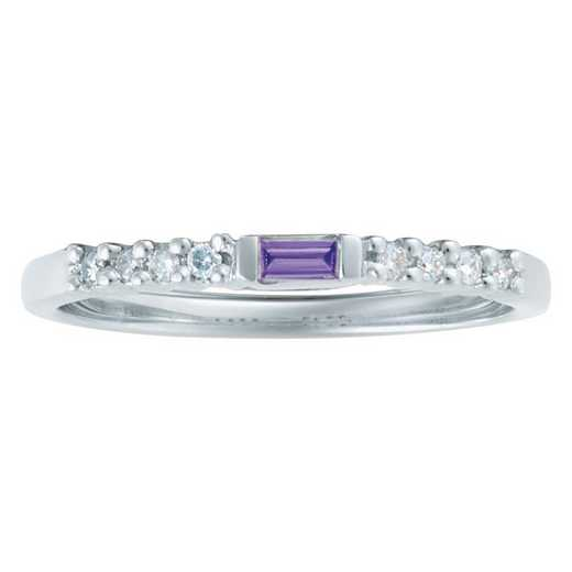 Women's Baguette-Stone Stackable Ring: Crystal