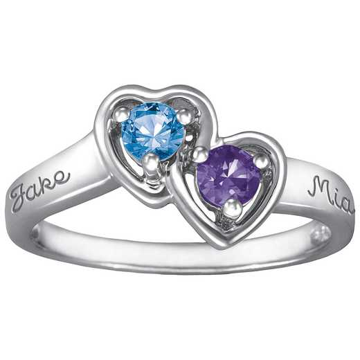 Ladies' Double Heart Ring with Birthstones: Cupid