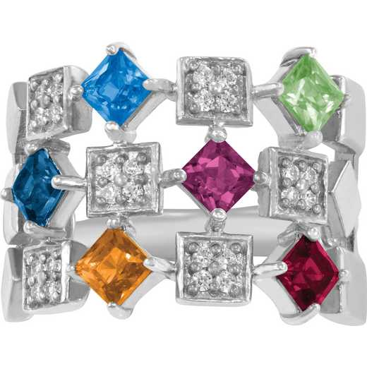 Mother's Six-Stone Geometric Ring: Dazzle