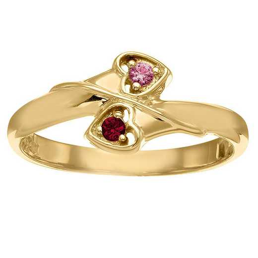 Ladies' Double-Heart Birthstone Promise Ring: Delightful Hearts