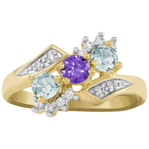 Ladies' Cubic Zirconia and Diagonal Birthstone Ring: Desire