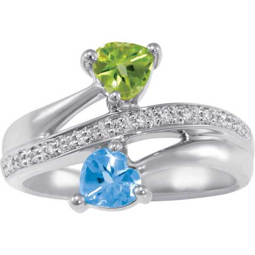 Couples Two-Stone Love Promise Ring: Doting Quick Ship