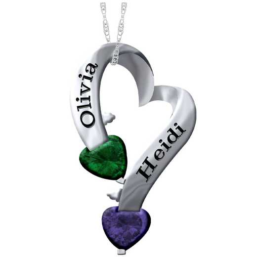 Women's Double Heart Birthstone Pendant