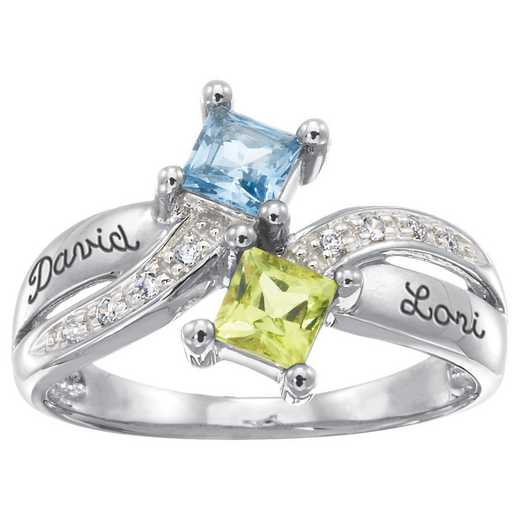 Ladies' Double-Ribbon Double-Birthstone Ring: Duality