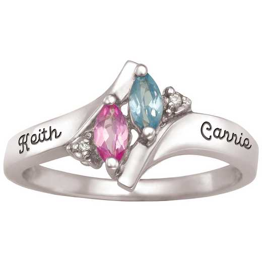 Ladies' Dual Marquis Birthstone Promise Ring: Duet