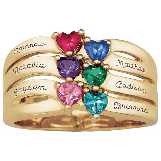 Mother's Personalized Ring with 2-6 Birthstones & Names: Dynasty