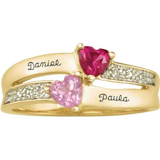 Ladies' Double Heart Ring with Birthstones: Enamored