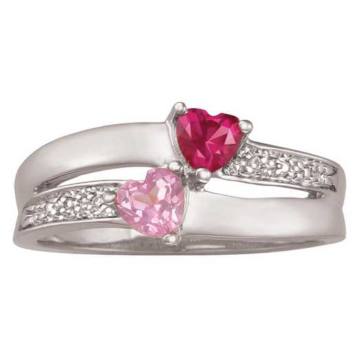 Women's Double Heart Promise Ring with Birthstones: Enamored Quick Ship