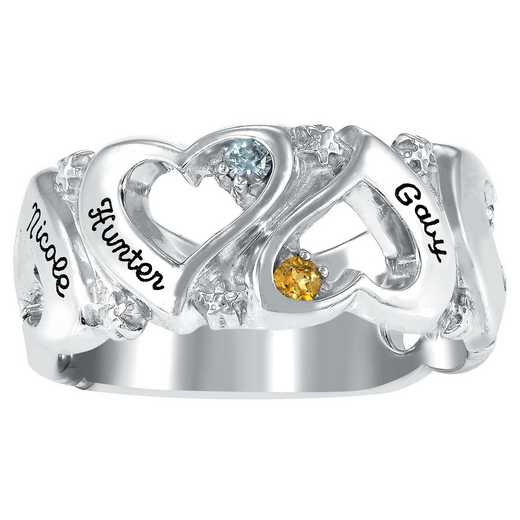 Ladies' Six-Stone Heart Ring with Custom Text: Endless Love