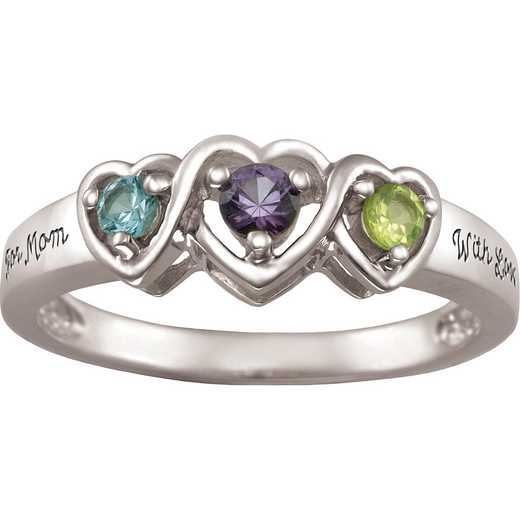 Ladies' Triple Heart Ring with Birthstones: Entwined
