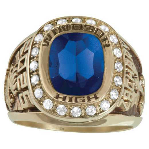 Men's Large Class Ring with Cushion-Cut Stone and CZ or Diamonds: Esquire Prestige