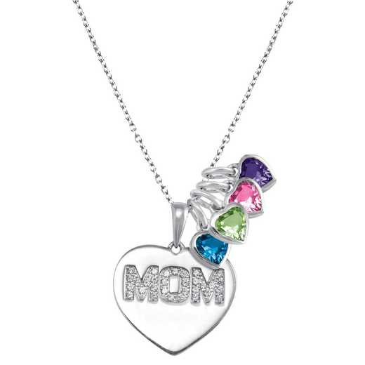 Heart-Shaped Mom Pendant with 1-4 Birthstones: Evermore