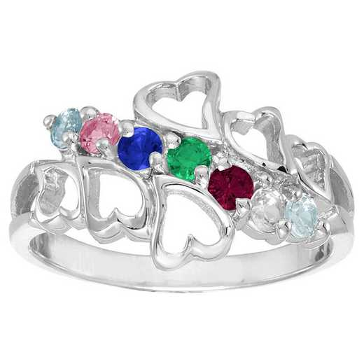 Mother's Heart Ring with 2-7 Stones - Family Hearts