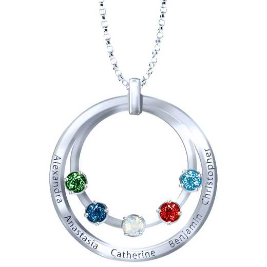 Family Circle Pendant with 1-5 Stones and Names