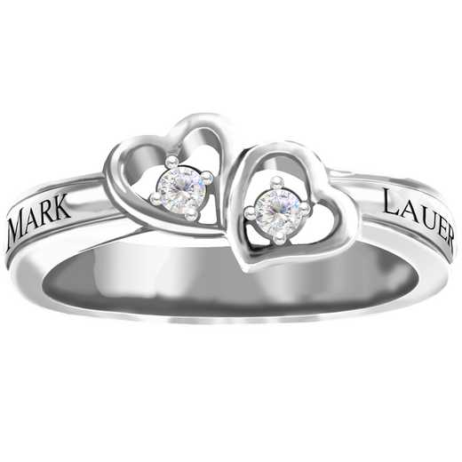 Double Heart Personalized Promise Ring: Fascination