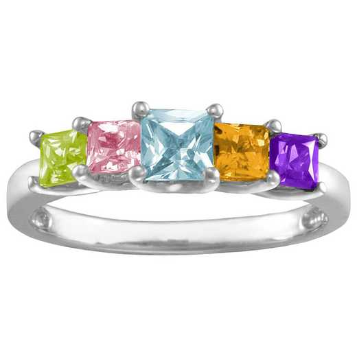 Mother's Birthstone Ring with 3 or 5 Princess-Cut Sones: Garland