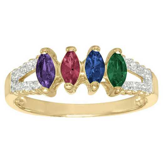 Ladies' Family Ring with Four Marquise-Cut Birthstones: Glimmer Quick Ship