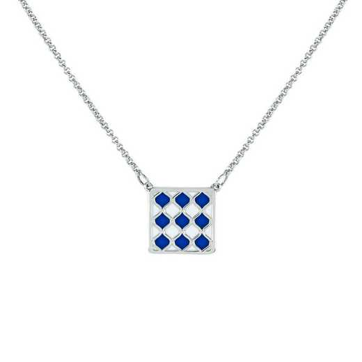 Ladies' Alum Diamond Pattern Square Pendant Necklace
