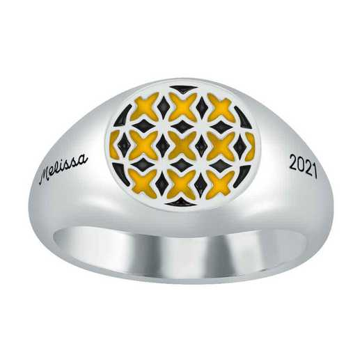 Ladies' Ace X Pattern Round Top Signet Ring
