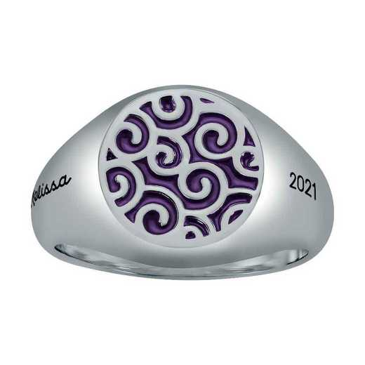 Ladies' Discerning Swirl Round Top Signet Ring