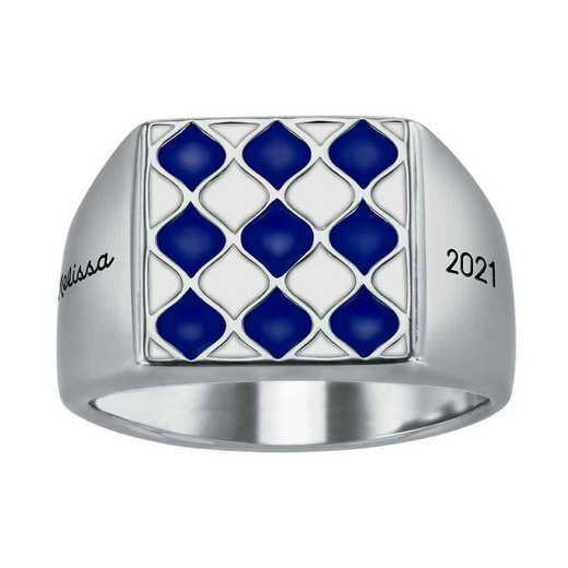 Ladies' Alum Diamond Pattern Square Top Signet Ring