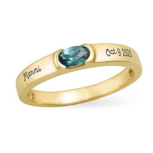 Women's Personalized Oval-Cut Stackable Ring: Halo