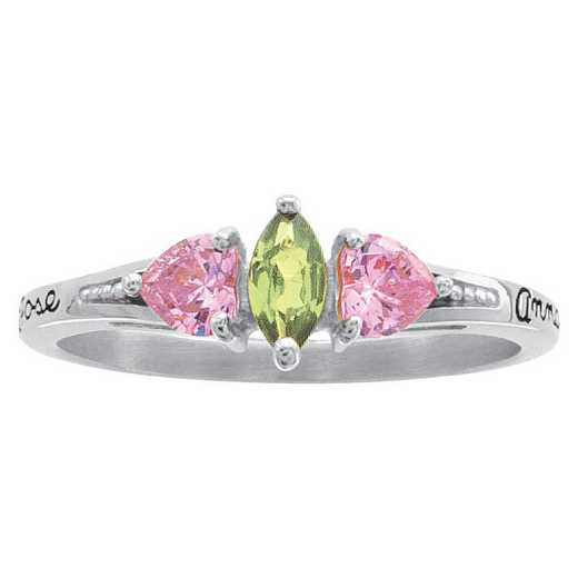 Ladies' Marquis and Heart Birthstone Promise Ring - Heart's Embrace