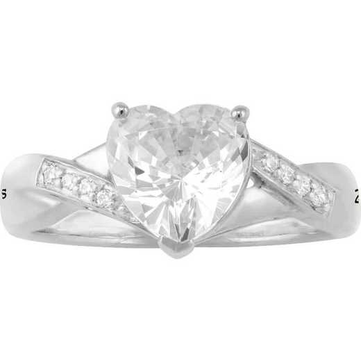 Personalized Promise Ring with Heart-Shaped Cubic Zirconia and Engravings: Heart's Oath