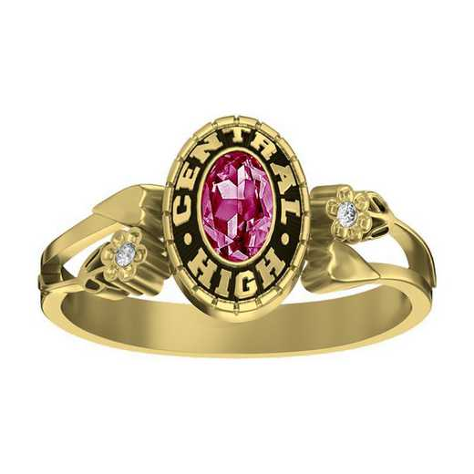 Women's Hearts and Flowers High School Class Ring