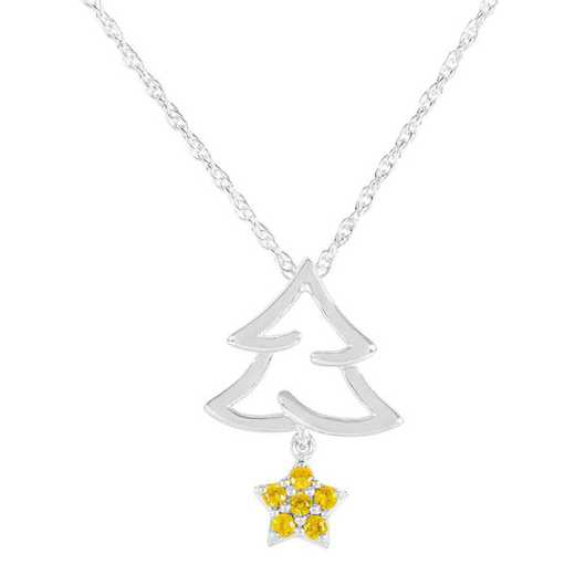 Women's Personalized Christmas Tree Pendant with Birthstone Star