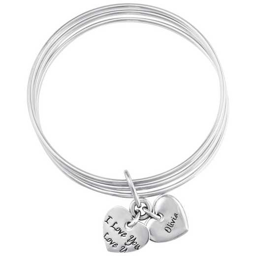 "Women's Sterling Silver Personalized ""I Love You"" Bangle"