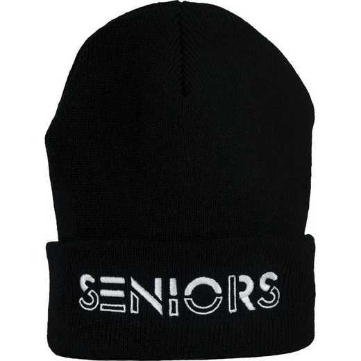 K022308: 2021 Seniors Stencil Beanie Hat, Black