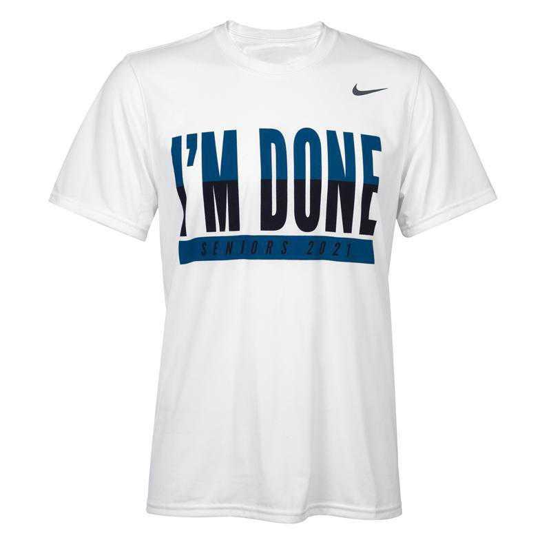 Nike Men's I'm Done 2021 T-Shirt, White w/ Turquoise