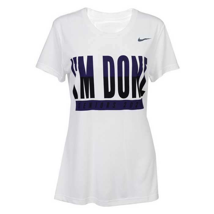 Nike Women's I'm Done T-Shirt 2021, White w/ Purple