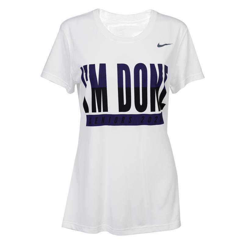 Nike Women's I'm Done T-Shirt 2021, White w/ Purple